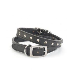 Ancol Black Leather Stud Collar